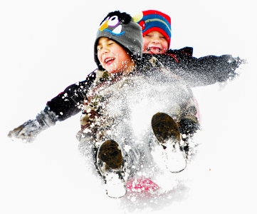 Antonio Rodriguez, 5, of Lincoln (front) takes his visiting cousin Noa Grubbs, 6, of Tatum, TX sledding at Holmes Lake in Lincoln.