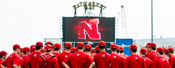 Nebraska Husker baseball players huddle on the field to listen to head coach, Darin Erstad, on the first day of fall practice at Hawks Field in Haymarket Park. KRISTIN STREFF/Lincoln Journal Star