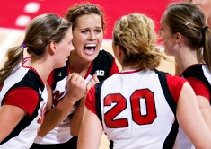 Nebraska senior Kelsey Robinson reacts with enthusiasm to scoring a big point with her teammates at the Bob Devaney Sports Center. KRISTIN STREFF/Lincoln Journal Star