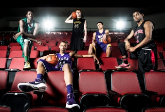Members of the Lincoln Journal Star Super-State Boys Basketball team Khyri Thomas of Benson (from left), Tre'Shawn Thurman of Omaha Central, Mitchell Hahn of Fremont, Malik Hluchoweckyj of Bellevue West, and Kevin Metoyer of Omaha Westside pose for a portrait at Pinnacle Bank Arena. KRISTIN STREFF/Lincoln Journal Star
