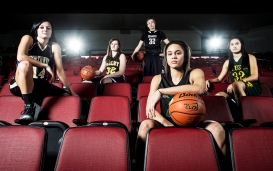Members of the Lincoln Journal Star Super-State Girls Basketball team McKenzie Brown of Northwest (from left), Chatrice White of Shelby, Jessica Shepard of Fremont, Kianna Ibis of Benson, and Maddie Simon of Pius X pose for a portrait at Pinnacle Bank Arena. KRISTIN STREFF/Lincoln Journal Star