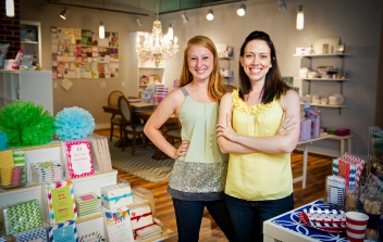 Owner Anne Schulte (right) with her assistant Jessi Schulte smile for a portrait at her new store and studio, Letter Bee Paperie. KRISTIN STREFF/Lincoln Journal Star