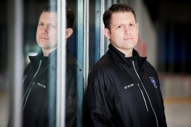 Lincoln Stars head coach Chris Hartsburg stands for a portrait along the boards before practice at the Ice Box. KRISTIN STREFF/Lincoln Journal Star