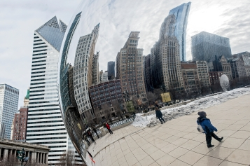 Cloud Gate, a rounded stainless steel public sculpture often referred to as the bean, reflects the Chicago skyline at Millennium Park. KRISTIN STREFF/Lincoln Journal Star