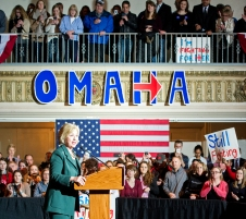 Democratic candidate for president Hillary Clinton delivers a campaign speech outlining her views on the economy, national security and other major political issues at Sokol Auditorium in Omaha. KRISTIN STREFF/Lincoln Journal Star