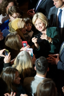 Democratic candidate for president Hillary Clinton takes a selfie with a supporter after delivering a campaign speech at Sokol Auditorium in Omaha. KRISTIN STREFF/Lincoln Journal Star