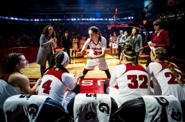 Nebraska guard Rachel Theriot (33) is announced during the starting lineups of the conference opener against Iowa at Pinnacle Bank Arena in Lincoln. KRISTIN STREFF/Lincoln Journal Star