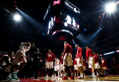 Nebraska guard Glynn Watson Jr. (left) is announced during the starting line-ups before the start of a game against Indiana at Pinnacle Bank Arena in Lincoln. KRISTIN STREFF/Lincoln Journal Star