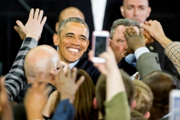 President Barack Obama greets supporters following his remarks at Baxter Arena. KRISTIN STREFF/Lincoln Journal Star