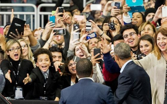 President Barack Obama enters to thousands of cheering Nebraskans at Baxter Arena on the campus of the University of Nebraska-Omaha. KRISTIN STREFF/Lincoln Journal Star