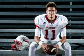 WAHOO, NEB - 08/01/2016 - Senior quarterback Noah Verdal sits for a portrait on Monday, Aug. 1, 2016, at Bishop Neumann High School. KRISTIN STREFF, Journal Star