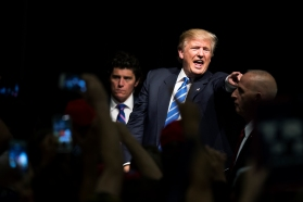 COUNCIL BLUFFS, IA - 09/28/2016 - Republican presidential candidate Donald Trump reacts to a crowd of supporters during a campaign rally on Wednesday, Sept. 28, 2016, at the Mid-America Center. KRISTIN STREFF, Journal Star