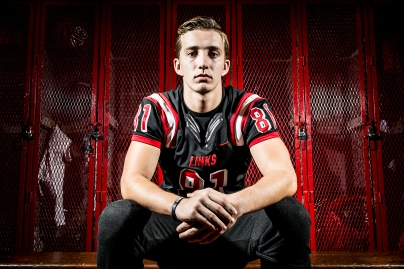 LINCOLN, NEB - 10/04/2016 - Senior linebacker Anthony Magor sits for a portrait before practice on Tuesday, Oct. 4, 2016, in the locker room at Lincoln High. KRISTIN STREFF, Journal Star