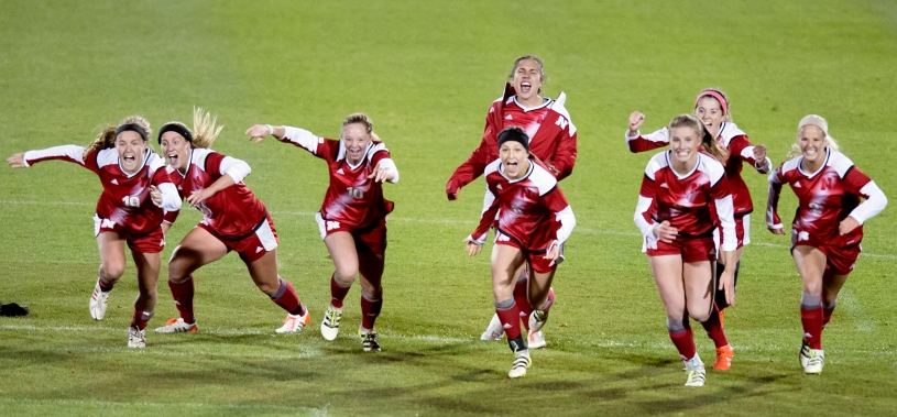 Nebraska teammates react to midfielder Sydney Miramontez's game winning penalty kick during a shoot out against South Dakota State University in an NCAA tournament first round match at Hibner Stadium. KRISTIN STREFF, Journal Star