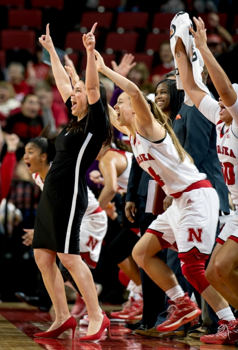 First-year Nebraska head coach Amy Williams and the Husker bench react to a last second half-court shot made by forward Jessica Shepard (32) to end the first half against Texas Rio Grande Valley at Pinnacle Bank Arena. KRISTIN STREFF, Journal Star