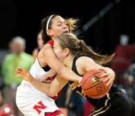 Nebraska guard Nicea Eliely (5) is called for a foul trying to steal the ball from Missouri guard Lianna Doty (1) during the second half at Pinnacle Bank Arena. KRISTIN STREFF, Journal Star