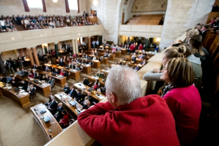 Spectators fill the galleries and balconies during the opening day of the 105th legislative session at the capitol building. KRISTIN STREFF, Journal Star