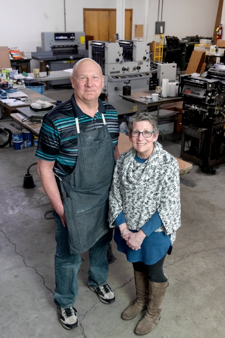 Settell's Printing, Inc. co-owners and sibling team Bud Settell and Carol Settell Chappelle stand for a portrait in their shop at 11th and L streets in downtown Lincoln. KRISTIN STREFF, Journal Star