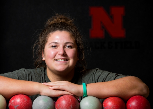 Nebraska shot putter Toni Tupper of Lincoln poses for a portrait at the Bob Devaney Sports Center. KRISTIN STREFF, Journal Star