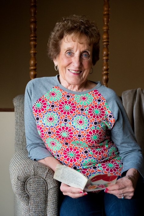 Frances Stall and her sister Jeanie exchanged a Valentine's Day card every February since 1949. Jeanie passed away in November. Frances smiles for a portrait with the card at her home in Eagle, Neb. KRISTIN STREFF, Journal Star