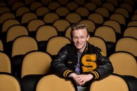 Graduating in the top of his class, three-sport senior standout Abram Turner is committed to the Massachusetts Institute of Technology to study technical production in theater arts. He sits for a portrait in the Lincoln Southeast auditorium. KRISTIN STREFF, Journal Star